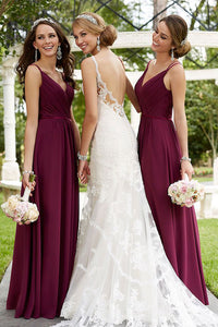 Elegant Burgundy Spaghetti Strap V Neck Long Chiffon Bridesmaid Dresses - NICEOO