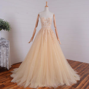 A Line Empire Waist Sweetheart Tulle Wedding Dresses Best Prom Dresses - NICEOO