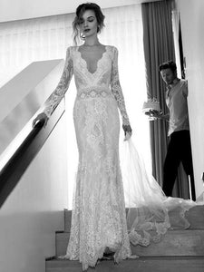 Simple Wedding Dress,V Neck Wedding Dresses,Long Sleeves Bride Gown,Backless Bride Gown