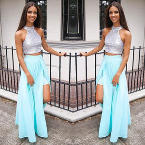 Two Pieces Halter Side Split Homecoming Dresses Chiffon Prom Dresses
