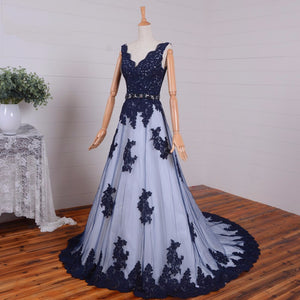Navy Blue A Line V Neck Sleeveless Empire Waist Formal Dresses Best Prom Dresses - NICEOO