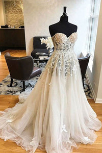 Simple A Line Sweetheart Tulle Wedding Dresses Best Bride Gown With Appliques
