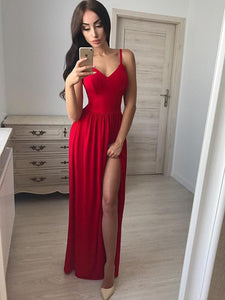 Sexy Red Spaghetti Strap V Neck Side Split Prom Dresses Evening Dresses