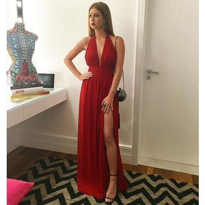Sexy Red Halter V Neck Side Split Chiffon Prom Dresses Cheap Evening Dresses
