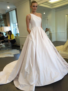 Simple White A Line One Shoulder Wedding Dresses Cheap Bride Gown