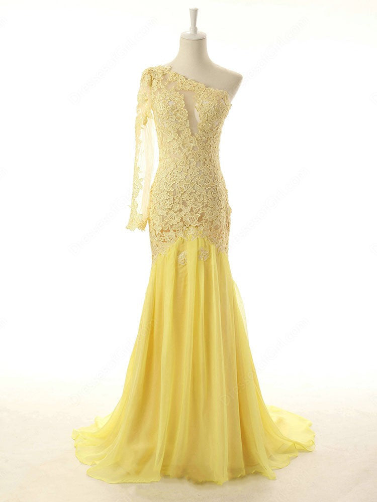 Yellow One Shoulder Open Back Mermaid Prom Dresses Best Evening ...