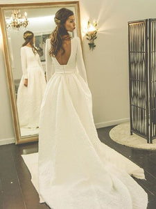 White Round Neck Long Sleeves Backless Wedding Dresses Lace Bride Gown - NICEOO
