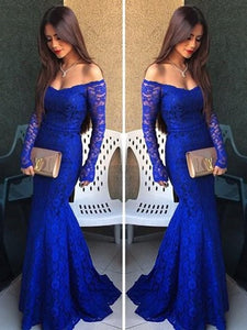 Navy Blue Off Shoulder Long Sleeves Mermaid Evening Dresses Lace Prom Dresses - NICEOO