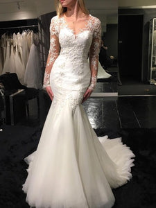 White Mermaid Sweetheart Long Sleeves Wedding Dresses Best Bride Gown With Lace