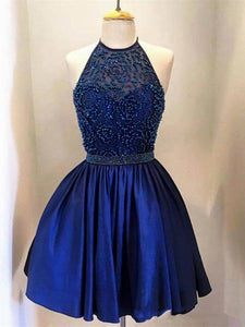 Navy Blue A Line Halter Sleeveless Satin Mini Homecoming Dresses Cheap Prom Dresses - NICEOO