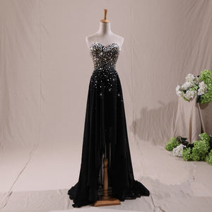 Black A Line Empire Waist Strapless High Low Prom Dresses Chiffon Evening Dresses With Rhinestone - NICEOO