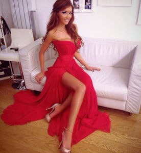 Red Sweetheart Side Split Long Chiffon Prom Dresses Evening Dresses - NICEOO