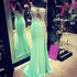 Mint Green Slim Line One Shoulder Open Back Satin Prom Dresses Evening Dresses With Rhinestone