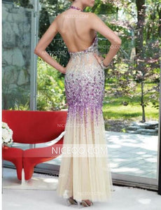 Sexy Halter Open Back Mermaid Lace Prom Dresses Best Evening Dresses