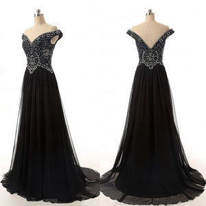 Black Off Shoulder Sweetheart Open Back Prom Dresses Bridesmaid Dresses With Beading - NICEOO