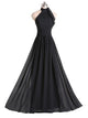 Black A Line Haler Backless Prom Dresses Long Military Ball Dresses - NICEOO