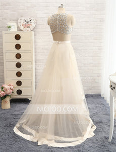 Two Pieces Round Neck Sleeveless Tulle Homecoming Dresses Best Prom Dresses