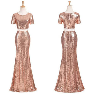 Sexy Rose Gold Round Neck Mermaid Two Pieces Sequin Bridesmaid Dresses Prom Dresses