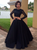 2 Pieces Long Prom Dresses Beaded Satin Long Sleeve Evening Dresses