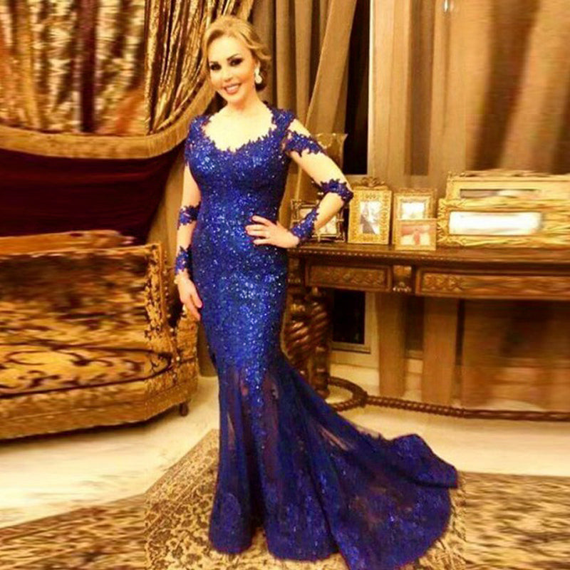 Sexy Royal Blue Strap Mermaid Sequin Prom Dresses Best Evening