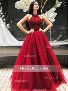 Burgundy A Line Halter Open Back Tulle Prom Dresses Best Ball Gowns - NICEOO