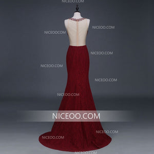 Burgundy Halter Sweetheart Open Back Mermaid Lace Prom Dresses Long Evening Dresses - NICEOO