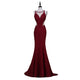 Burgundy Halter Sweetheart Open Back Mermaid Lace Prom Dresses Long Evening Dresses