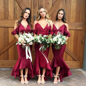 Spaghetti Strap V Neck Off Shoulder Slim Line Bridesmaid Dresses
