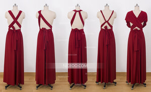 Burgundy Convertible Dresses, Infinity Bridesmaid Dresses, Multiway Dresses - NICEOO