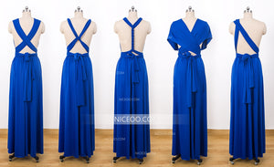 Royal Blue Convertible Dresses, Infinity Bridesmaid Dresses, Multiway Dresses - NICEOO