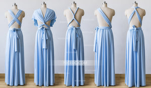 Light Blue Maxi Infinity Bridesmaid Dresses,Convertible Dresses, Multiway Wrap Dresses - NICEOO