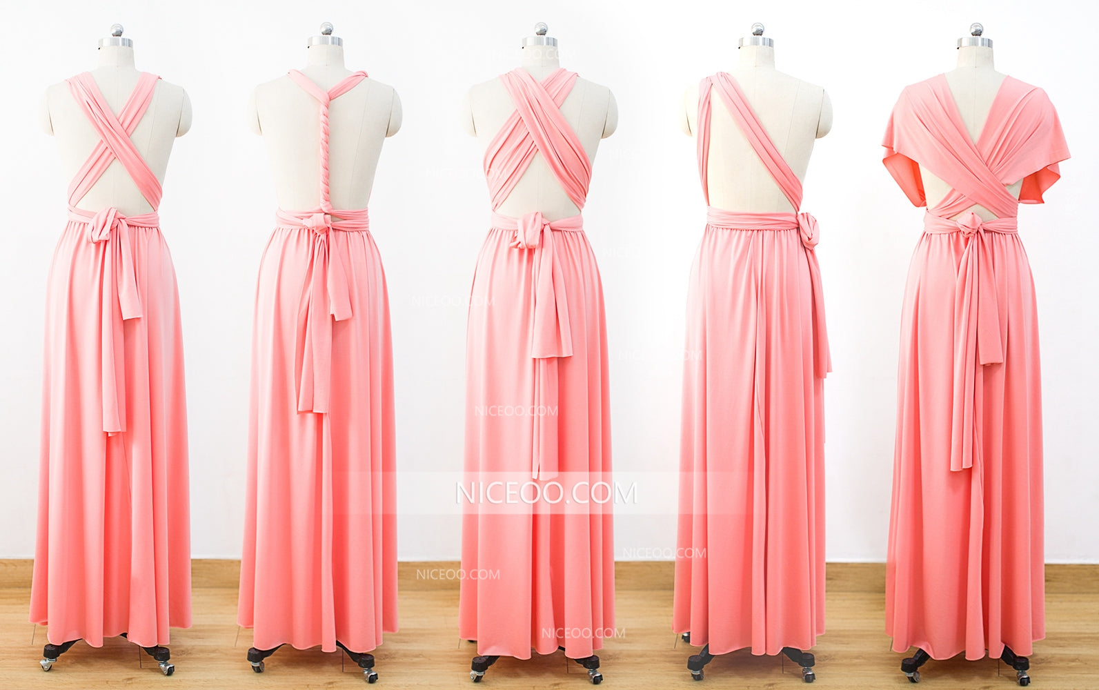 4b6aa6accd00 Coral Infinity Dresses,Bridesmaid Convertible Dresses, Multiway Wrap Dresses  - NICEOO