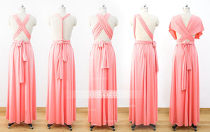 Coral Infinity Dresses,Bridesmaid Convertible Dresses, Multiway Wrap Dresses - NICEOO