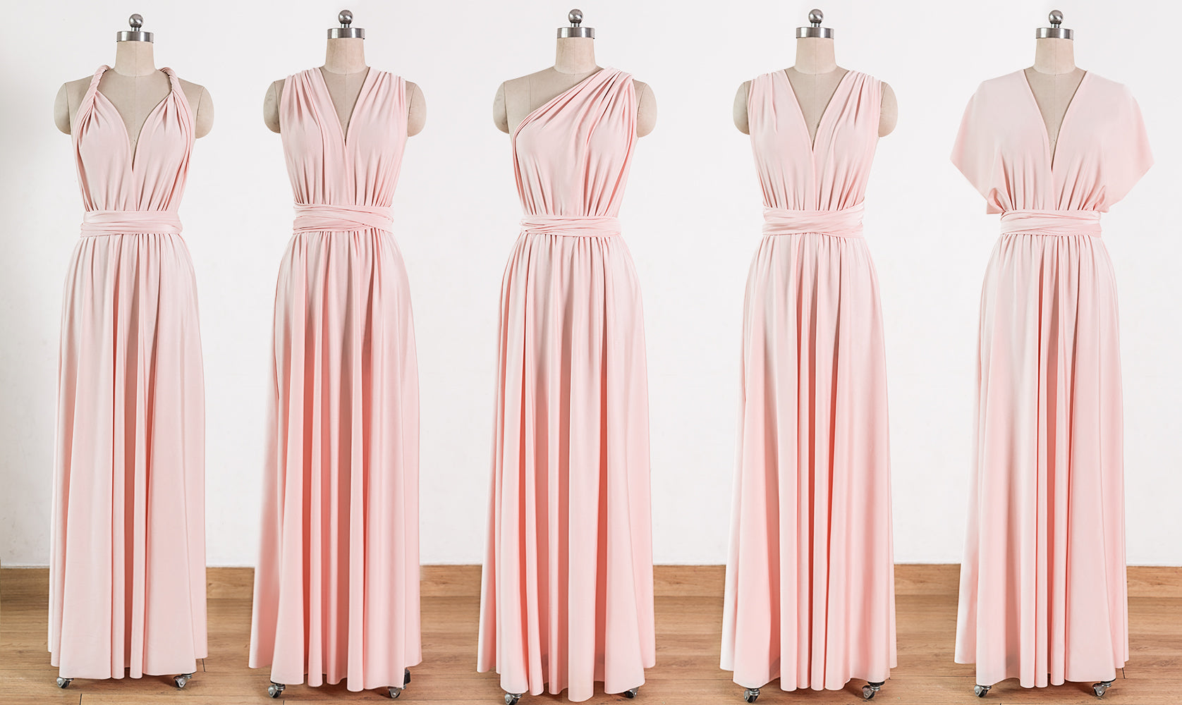c4003e7fbbe2 Blush Pink Maxi Infinity Dresses,Convertible Bridesmaid Dresses, Multiway  Wrap Dresses - NICEOO