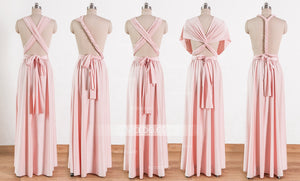 Blush Pink Maxi Infinity Dresses,Convertible Bridesmaid Dresses, Multiway Wrap Dresses - NICEOO