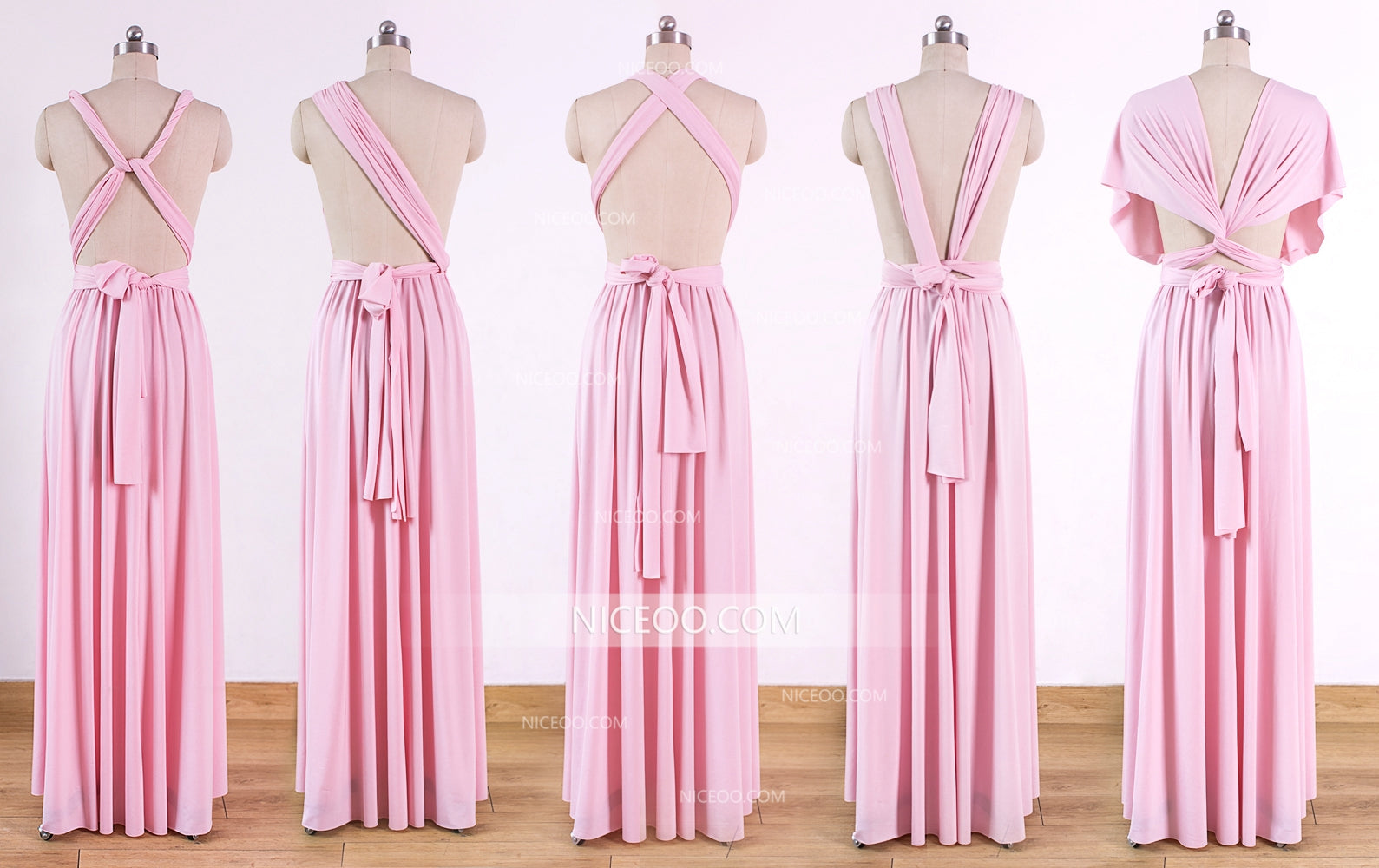 Pink Maxi Infinity Bridesmaid Dresses Convertible Dresses Multiway Wr Niceoo