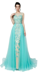 Scoop Neck Sleeveless Lace Applique Prom Dresses With Removable Skirt