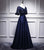 Navy Blue V Neck A Line Satin Prom Dresses Lace Evening Dresses