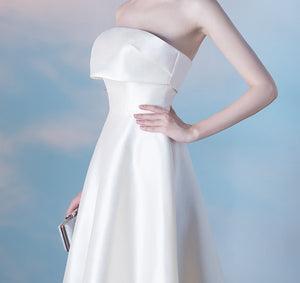 Simple Strapless Sleeveless A Line Satin Short Homecoming Dresses
