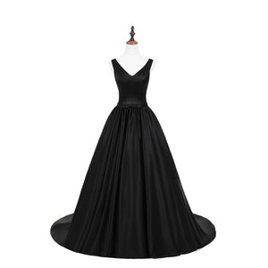 Black V Neck Sleeveless A Line Prom Dresses Cross Back Evening Dresses