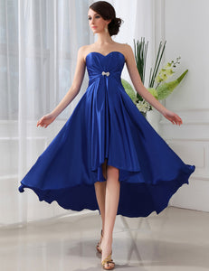 Blue Strapless Sweetheart High Low A Line Satin Homecoming Dresses