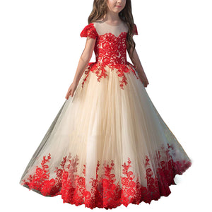 Red Lace Appliques Cap Sleeve A Line Long Flower Girl Dresses