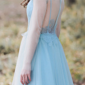 Blue Long Sleeve Lace Prom Dresses A Line Tulle Evening Dresses