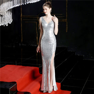 V Neck Sleeveless Side Slit Sequin Long Prom Dresses With Beaded