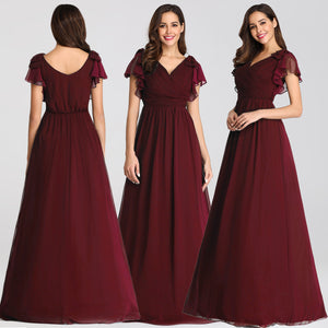 Cheap V Neck Cap Sleeve A Line Long Chiffon Bridesmaid Dresses