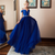 Blue Deep V Neck Off Shoulder Prom Dresses Lace Applique Evening Dress