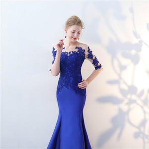 Blue Half Sleeve Lace Applique Prom Dresses Mermaid Evening Dresses