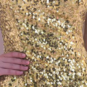 Gold Sleeveless Sequin Knee Length Homecoming Dresses
