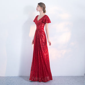 Red V Neck Short Sleeve Sequin Prom Dresses Backless Evening Dresses