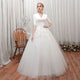 V Neck Half Sleeve A Line Tulle Wedding Dresses With Lace Appliques